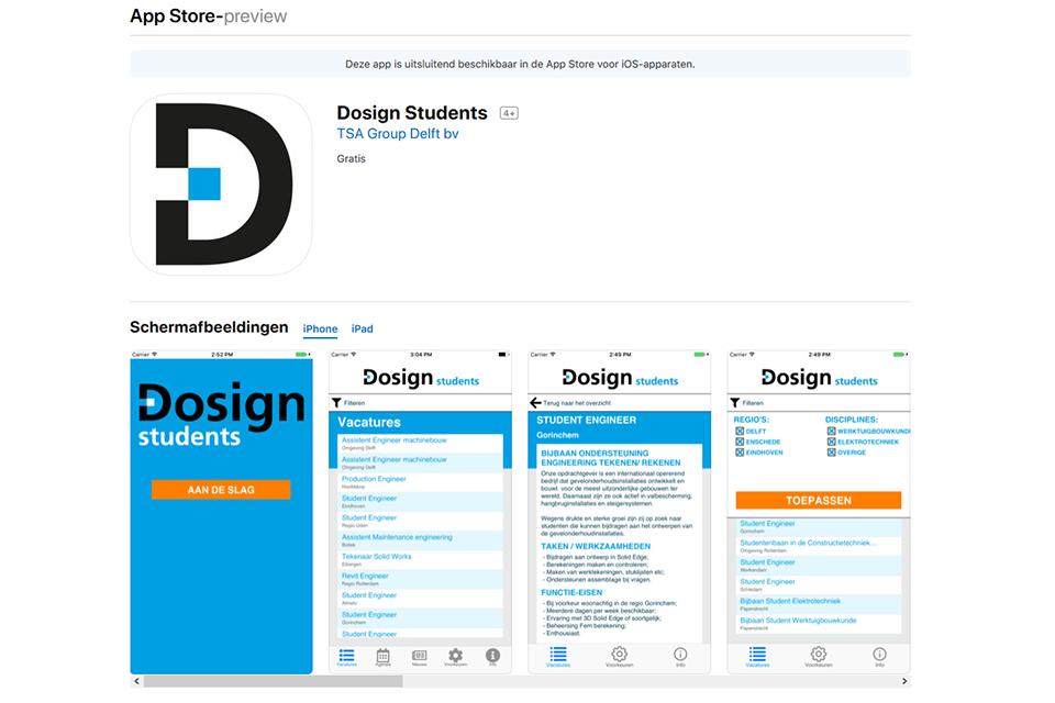 TSA Group Delft bv - screenshot Dosign Students App