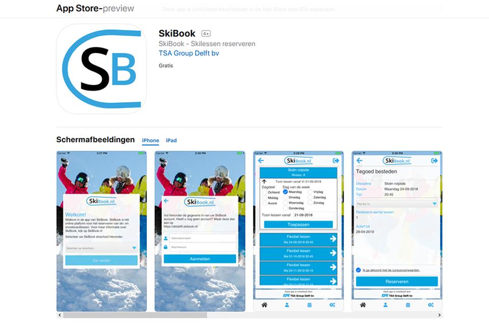 TSA Group Delft bv - SkiBook App screenshots
